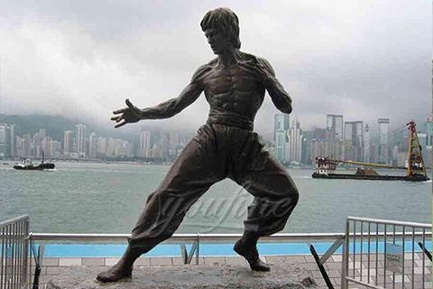 Life size famous kongfu garden bronze Bruce Lee statues