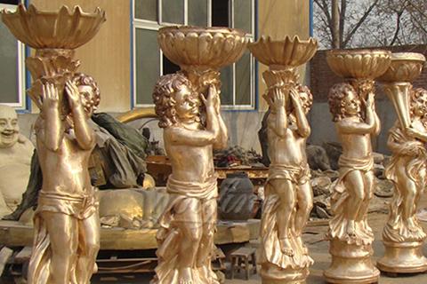 Outdoor Garden Bronze Flowerpots