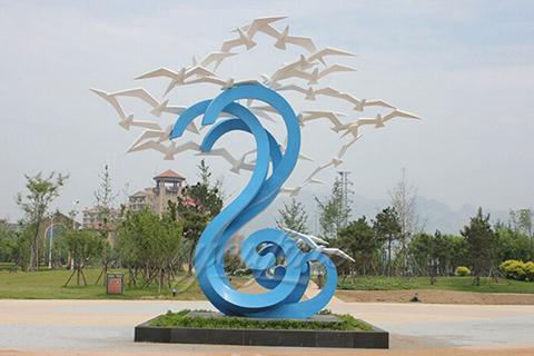 Painted mirror 304 stainless steel ocean bird sculpture