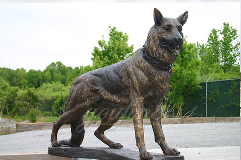 Custom life size bronze dog sculptures