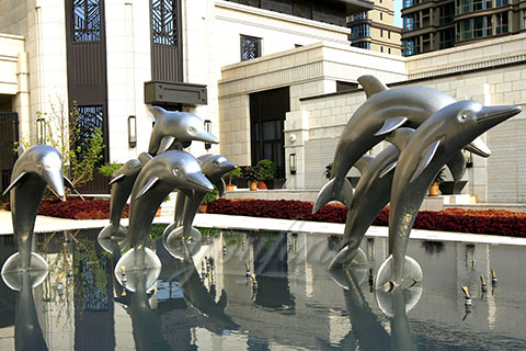 Mirror polished 3040stainless steel dolphin sculpture