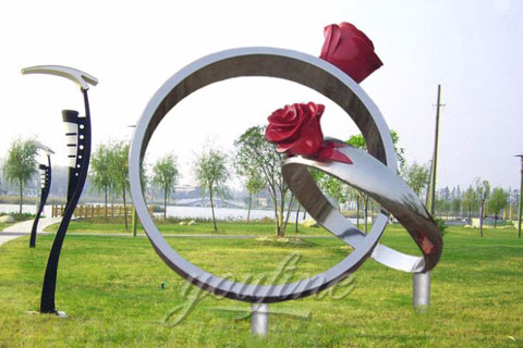 2017 abstract stainless steel Rose Rings Sculpture for garden