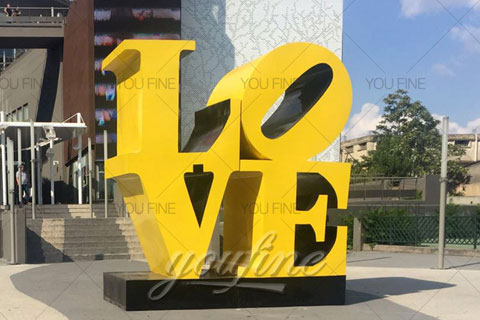 Large Modern Love Metal Sculpture in Stainless Steel for sale