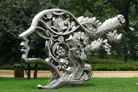 Mirror Polished Stainless Steel Beautiful Girl Head Park Sculptures