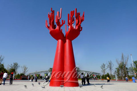 Mirror polished stainless steel abstract decorative red sculptures
