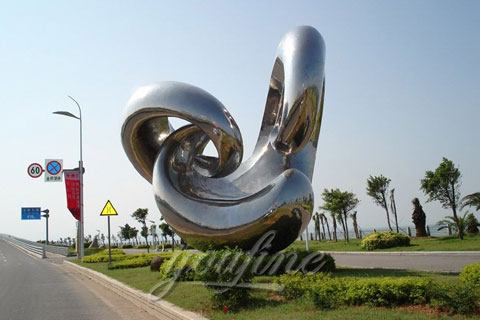 Modern Stainless Steel Sculpture with High Polished for Sale