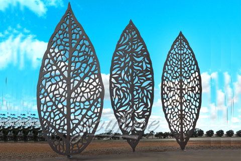 Outdoor Abstract Stainless Steel Three Leaves Sculpture for sale