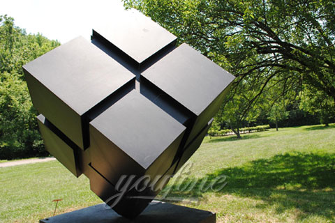 Outdoor abstract garden stainless steel cube sculpture for sale