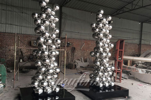 Popular abstract ourdoor stainless steel ball sculptures for garden decoration