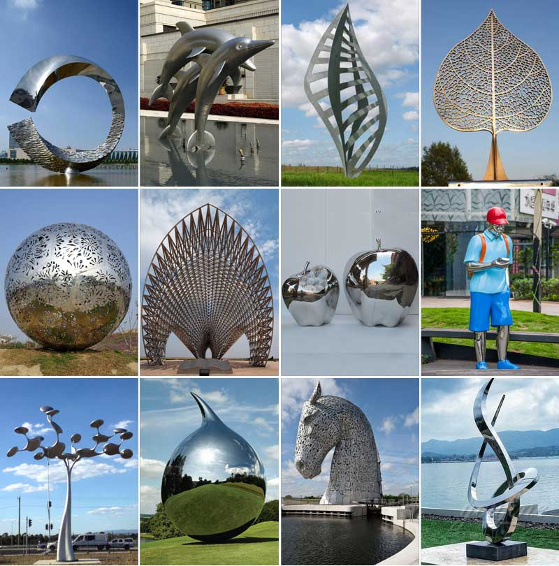 2020 Mirror Polished Modern Metal Sculpture In Stainless Steel For Sale