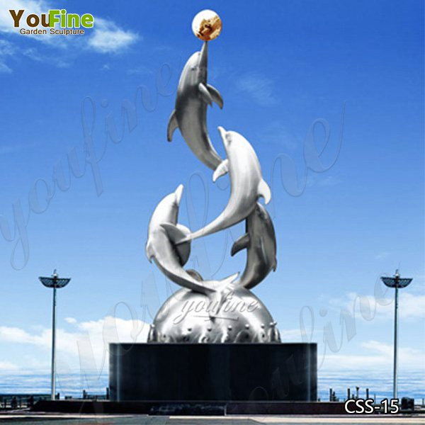 Modern Outdoor Metal Abstract  Dolphin Sculpture in Stainless Steel for Sale CSS-15