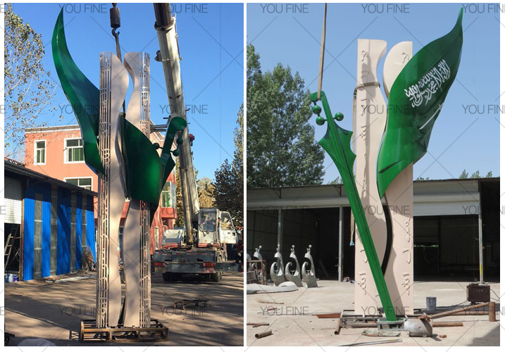 Large modern stainless steel sculpture for decor for client from Saudi Arabia (2)