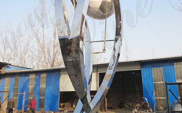 Large Size Decorative Stainless Steel Football Sculpture Fabrication for Sale CSS-161