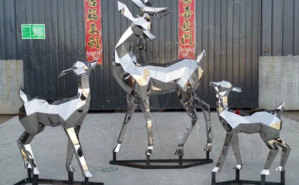 Hand Carved Customized Stainless Steel Animal of Reindeer Sculptures Online CSS-180
