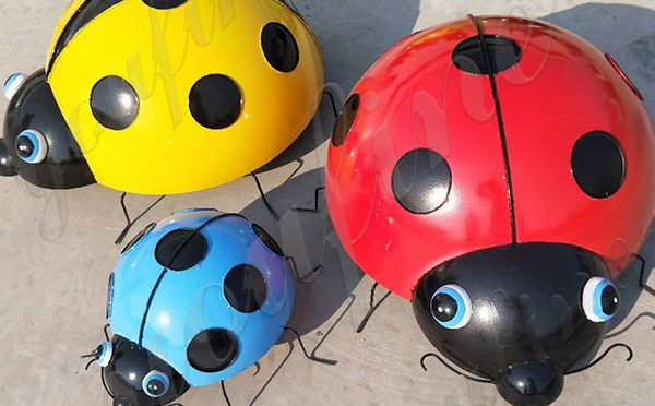 Mini Cute Ladybug Metal Stainless Steel Sculpture Decoration Supplier CSS-182