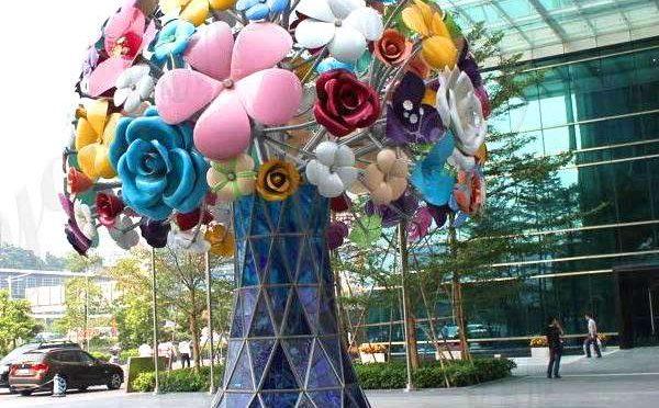Modern Beautiful Stainless Steel Flowers Sculpture for Decor Manufacturer CSS-100