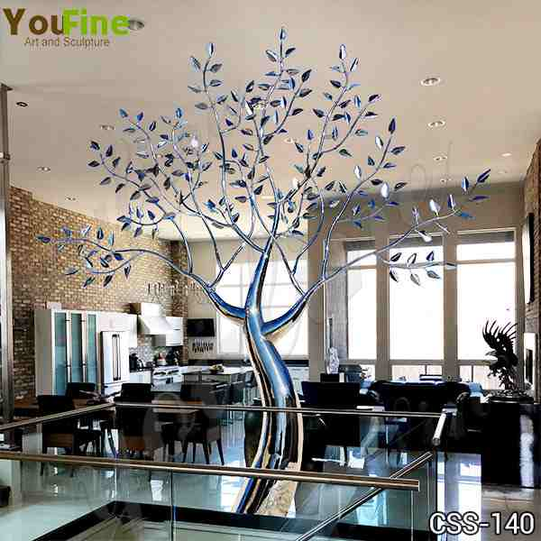 Abstract Standing Tree Stainless Steel Sculpture Design with Competitive Price CSS-140
