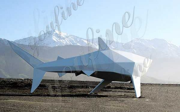 Hand Carved Large Size Stainless Steel Animal Shark Sculpture for Sale CSS-102Hand Carved Large Size Stainless Steel Animal Shark Sculpture for Sale CSS-102