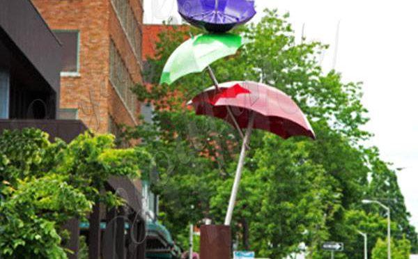 High-polished Outdoor Stainless Steel Umbrella Garden Sculpture Design for Sale CSS-96