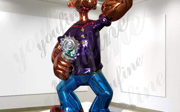 High-polished Life Size Jeff Koons Popeye Stainless Steel Sculpture Manufacturer CSS-87