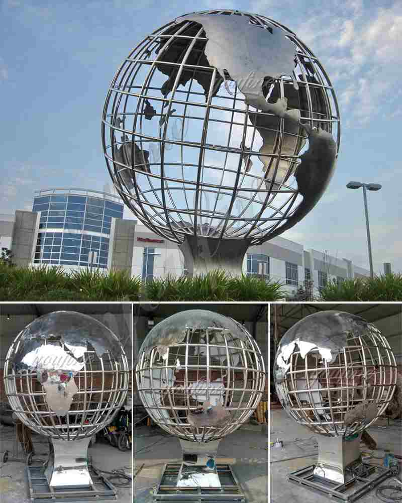 Large Size Stainless Steel Globe Sculpture