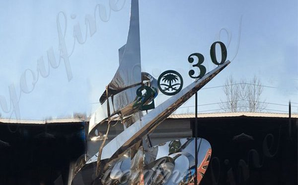Modern Morror Polished Stainless Steel Outdoor Sculpture for Saudi Client Supplier CSS-34