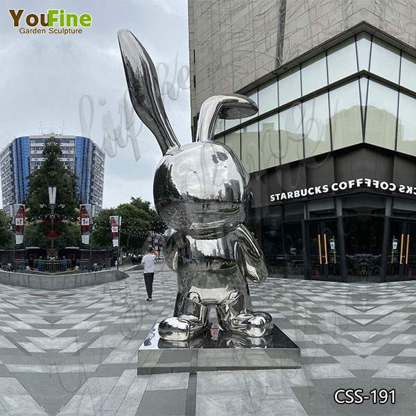 Popular Mirror Polished Stainless Steel Rabbit Sculpture for Outdoor Decor CSS-191