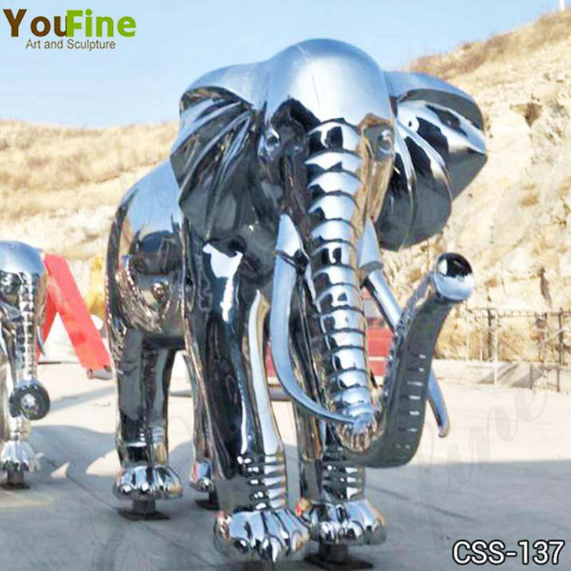 Mirror Polished Large Metal Stainless Steel Elephant Sculpture Yard Decor for Sale CSS-137 Details
