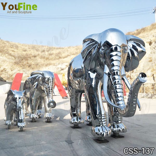 Mirror Polished Large Metal Stainless Steel Elephant Sculpture Yard Decor for Sale CSS-137