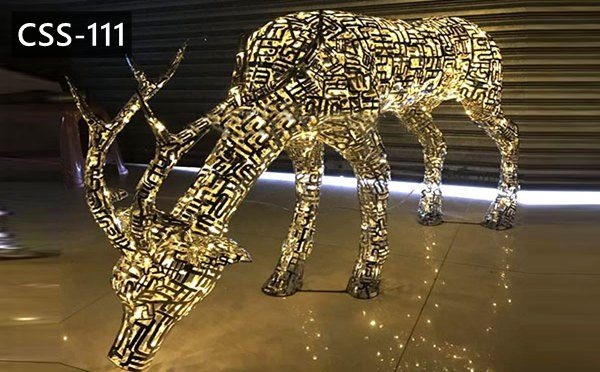 Outdoor Art Crafts Abstract Stainless Steel Deer Sculptures for Sale CSS-111