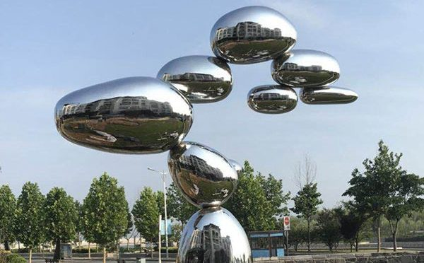 Modern Mirror Polishing Stainless Steel Pile Ball Sculpture for Sale CSS-186