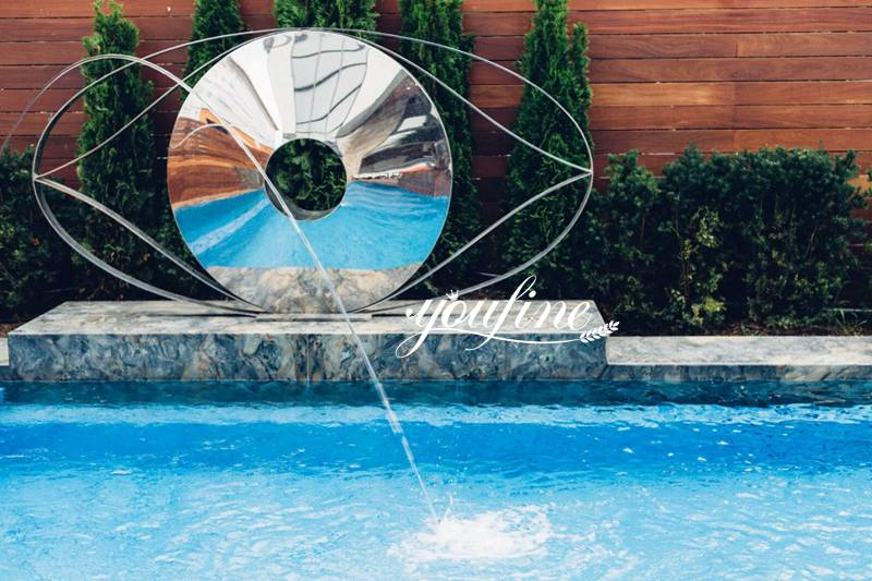 Outdoor Modern Abstract Mirror Stainless Steel Eye Sculptures for Sale CSS-41 Detail