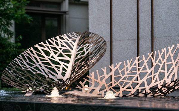 Mirror Stainless Steel Sculpture Metal Leaf Garden Decor CSS-217