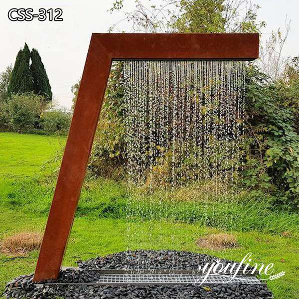Large Abstract Corten Water Fountain Rusty Garden Art