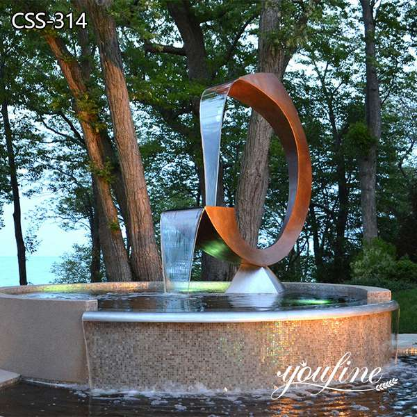 Modern Corten Steel Garden Sculpture Fountain Pool Decor for Sale