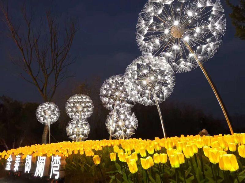Shopping Mall Metal Dandelion Lighting Sculpture for Sale