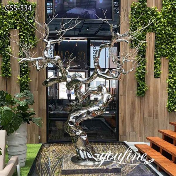 Mirror Polishing Modern Stainless Steel Tree Sculpture for Sale CSS-344