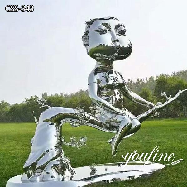 Modern Art Abstract Metal Woman Sculpture Cheongsam Woman Statue for Sale CSS-343