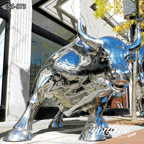 Stainless Steel Large Metal Bull Sculpture Wall Street Bull for Sale CSS-373