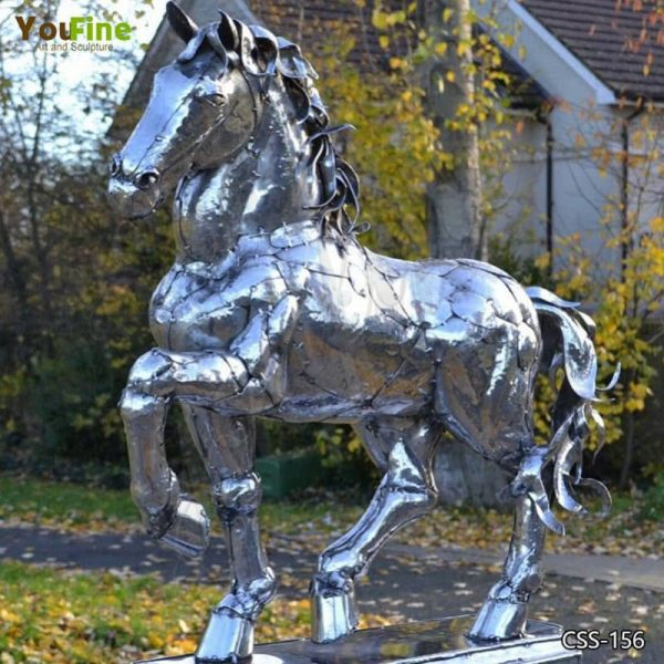 Life-size Outdoor Stainless Steel Horse Sculpture Decor for Sale CSS-156