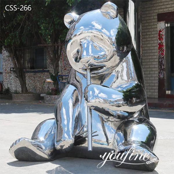 Mirror Polish Metal Panda Sculpture Outdoor Decor Factory Supply CSS-266 (1)
